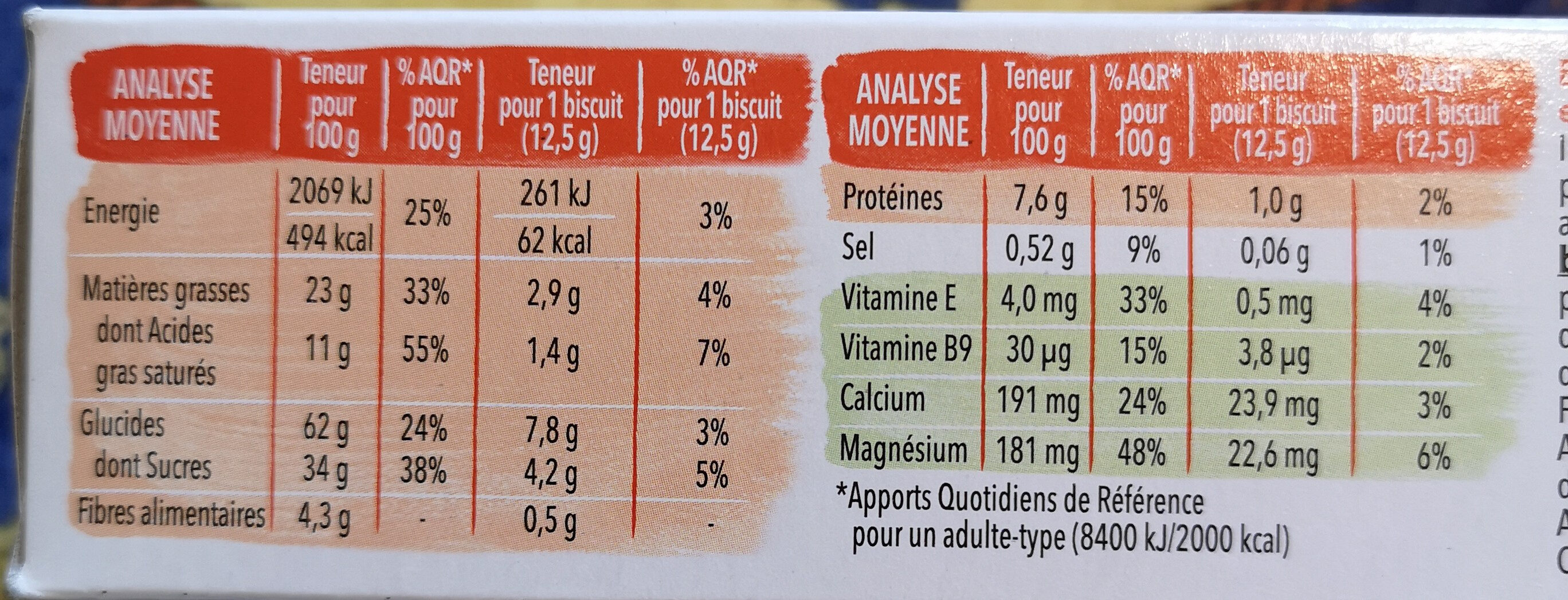 Biscuit Chocolat noir - Nutrition facts - fr