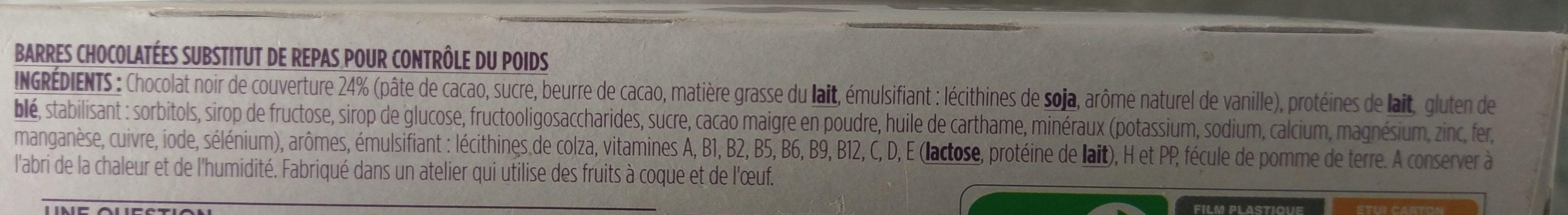Repas minceur complet barres saveur chocolat - Ingrédients - fr