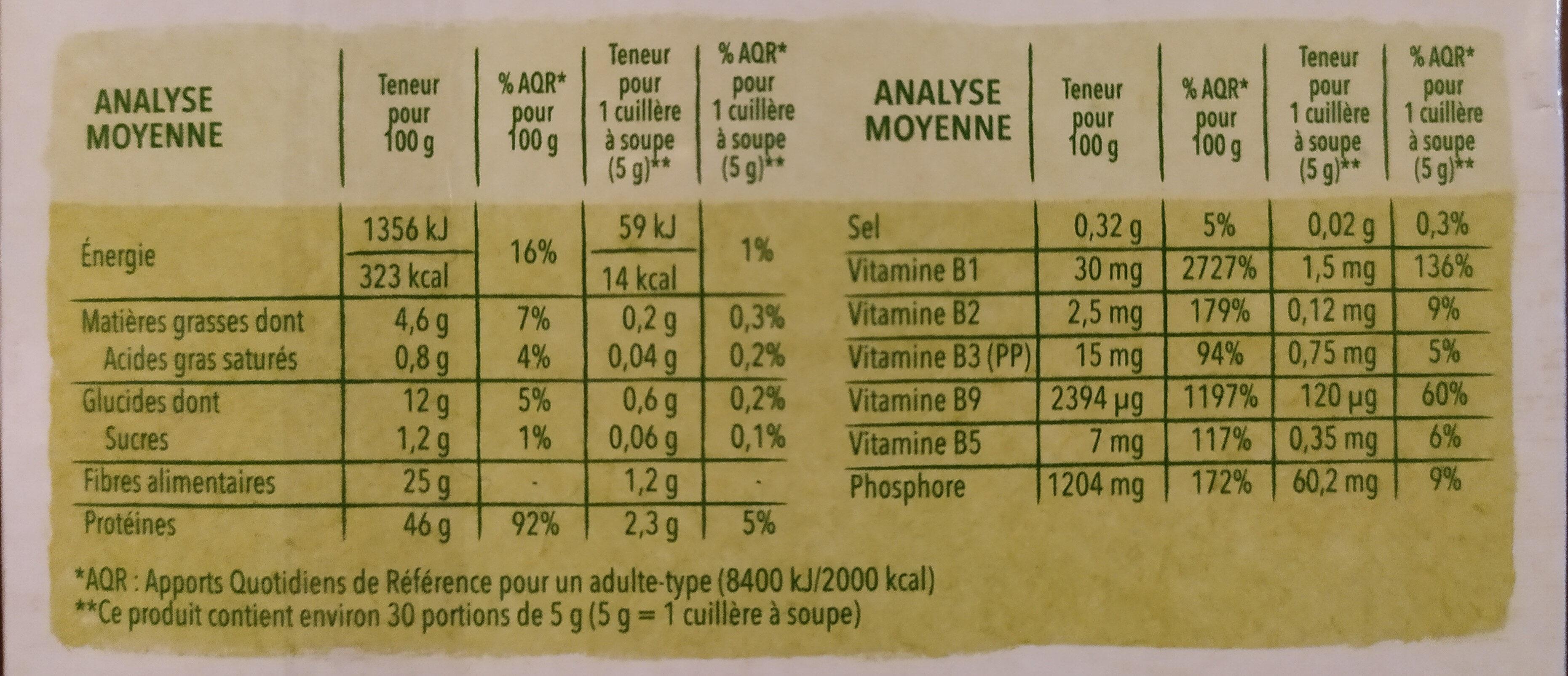 Levure de bière - Informations nutritionnelles - fr