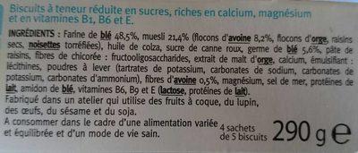 Gerblé biscuit muesli avoine - Ingredients