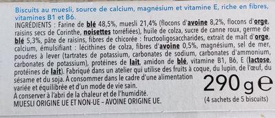 Biscuit muesli avoine Gerblé - Ingrédients - fr