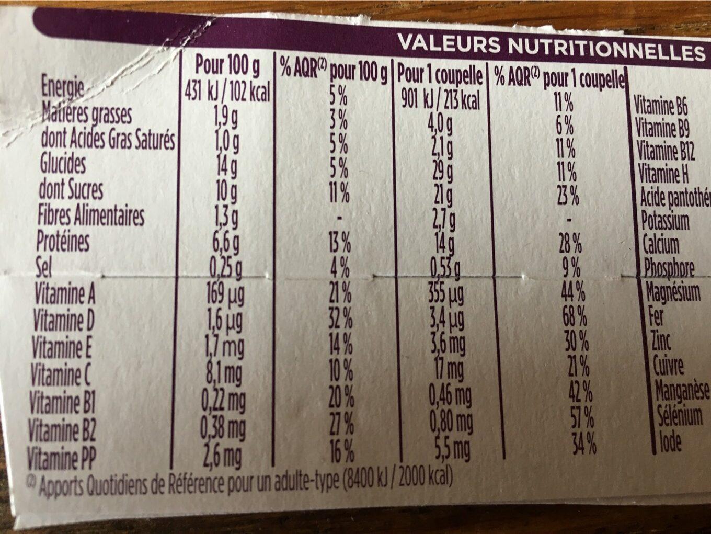 Mon repas minceur crème chocolat - Informations nutritionnelles - fr