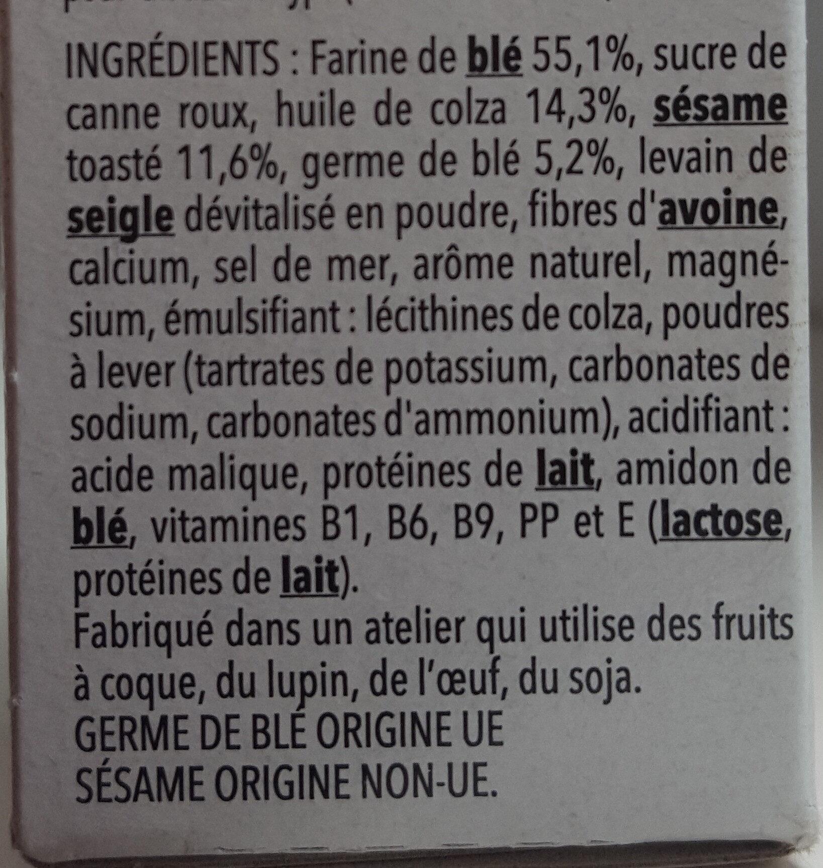 Biscuit Sésame Gerblé - Ingrédients - fr