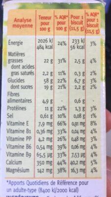Biscuit sésame Gerblé - Valori nutrizionali - fr