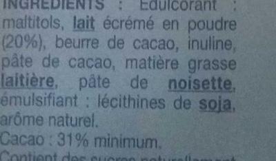 Chocolat au lait sans sucres ajoutés - Ingrédients - fr