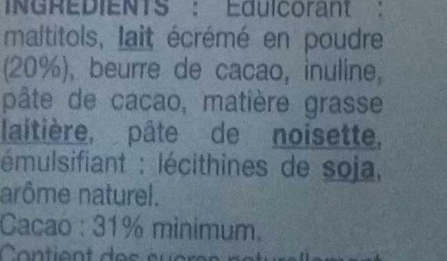 Chocolat au lait sans sucres ajoutés - Ingrediënten