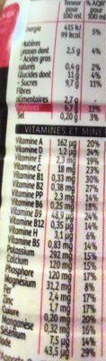 Milical Go - Repas à boire chocolat - Informations nutritionnelles