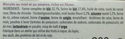 Crousti'Son Miel Sésame - Ingredients - fr