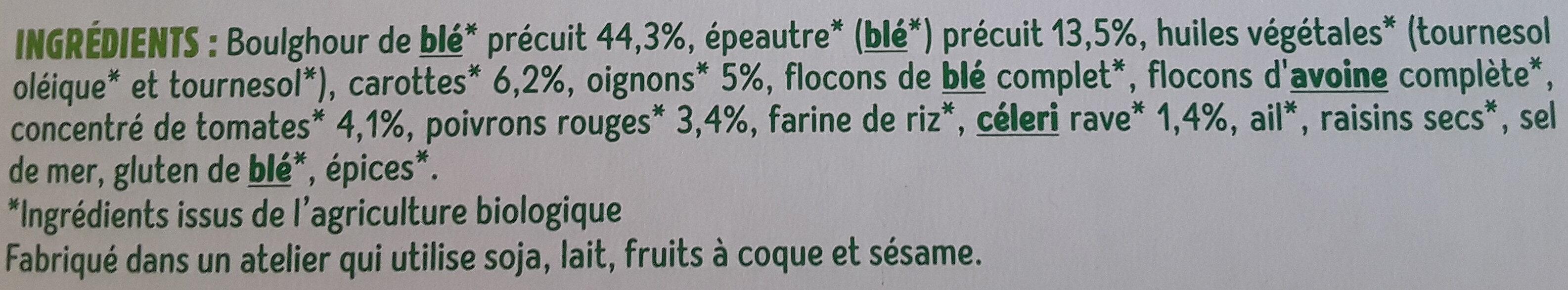 Galettes Boulghour et Épeautre aux petits légumes - 成分 - fr