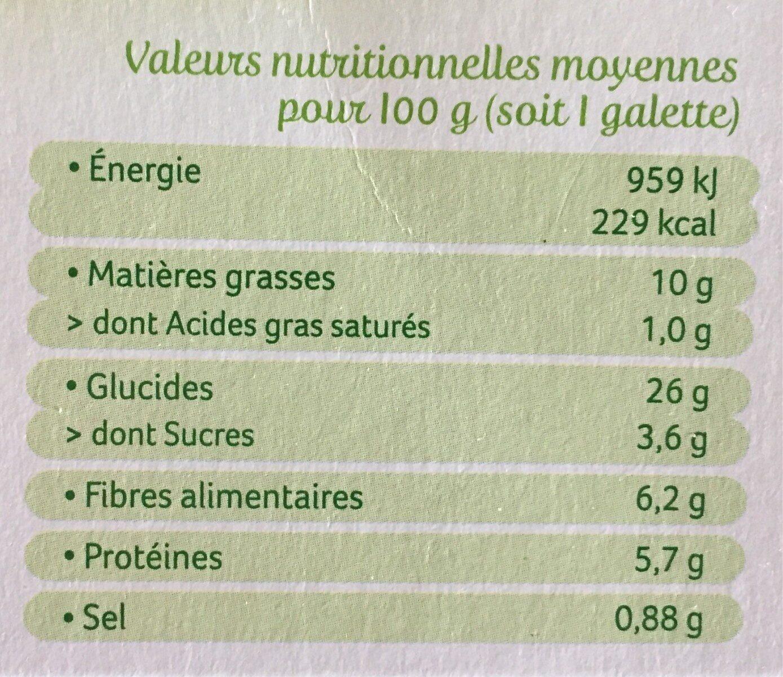 Galettes Epeautre et Boulghour aux petits légumes - Nutrition facts - fr