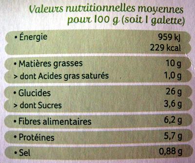 Galettes Boulghour et Épeautre aux petits légumes - Informations nutritionnelles - fr