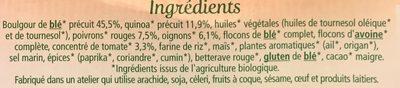 Galettes quinoa & boulghour à la tomate - Ingrediënten - fr