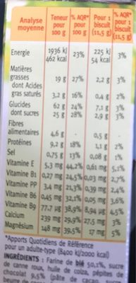 Biscuit lait chocolat Gerblé - Informations nutritionnelles - fr