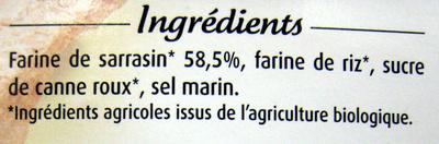 Tartines craquantes sarrasin - Ingredientes