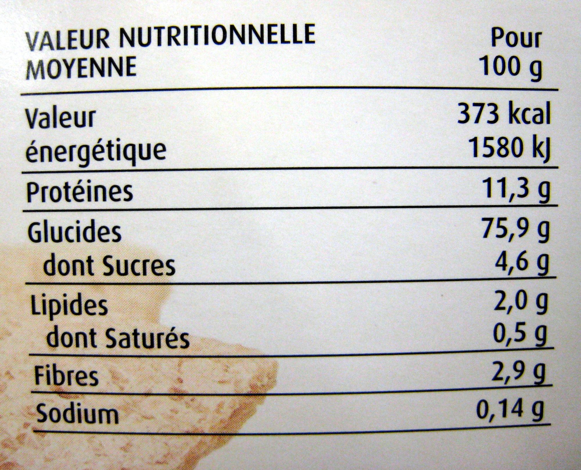 Tartines craquantes sarrasin - Información nutricional