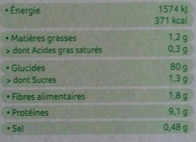 Tartines craquantes sarrazin - Informations nutritionnelles