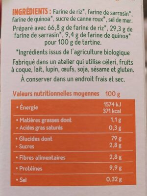 Tartine craquante multicereales - Nutrition facts - en