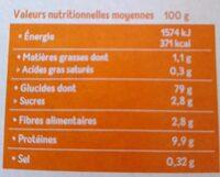 Tartines Craquantes Multicéréales - Riz, Sarrasin & Quinoa - Informazioni nutrizionali - fr