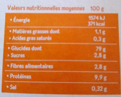 Tartines craquantes multicéréales riz sarrasin quinoa - Valori nutrizionali - fr