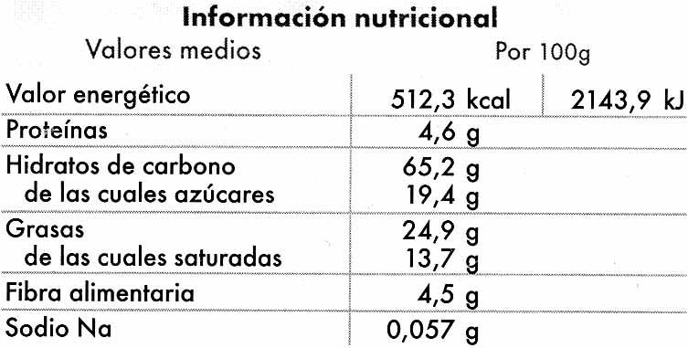 Cookies con chips de chocolate sin gluten - Informations nutritionnelles - es
