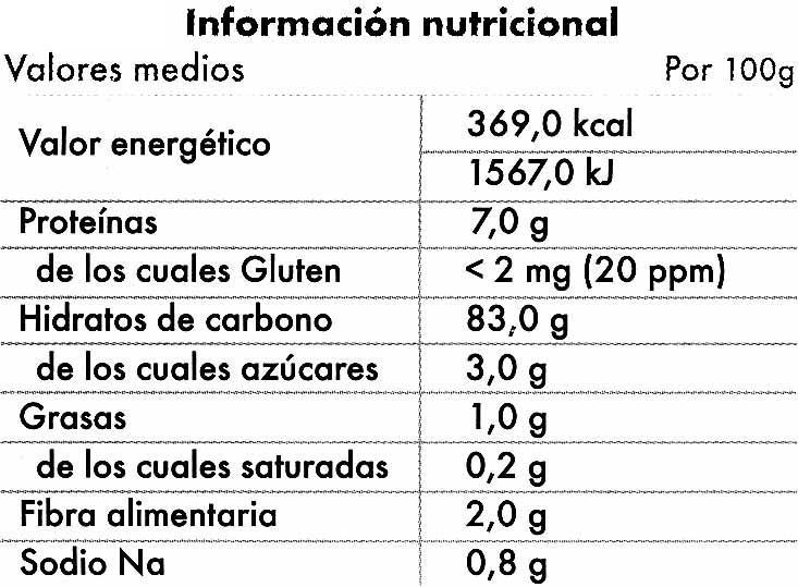Tostadas de maiz y arroz sin gluten - Informació nutricional - es