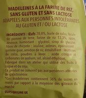 SS GLUT MADELEINES - Ingrédients - fr