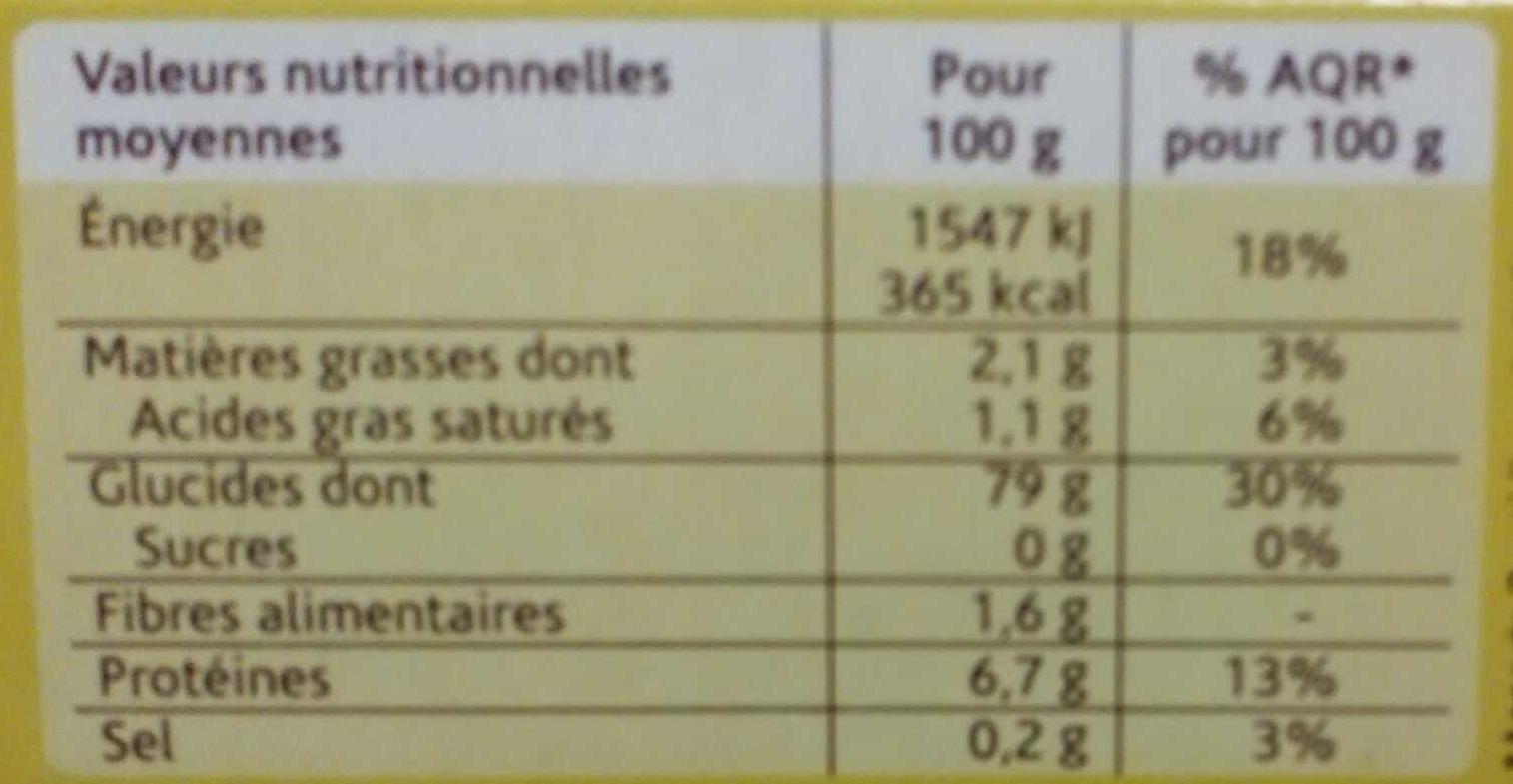Spaghetti farines de maïs et de riz - Valori nutrizionali - fr