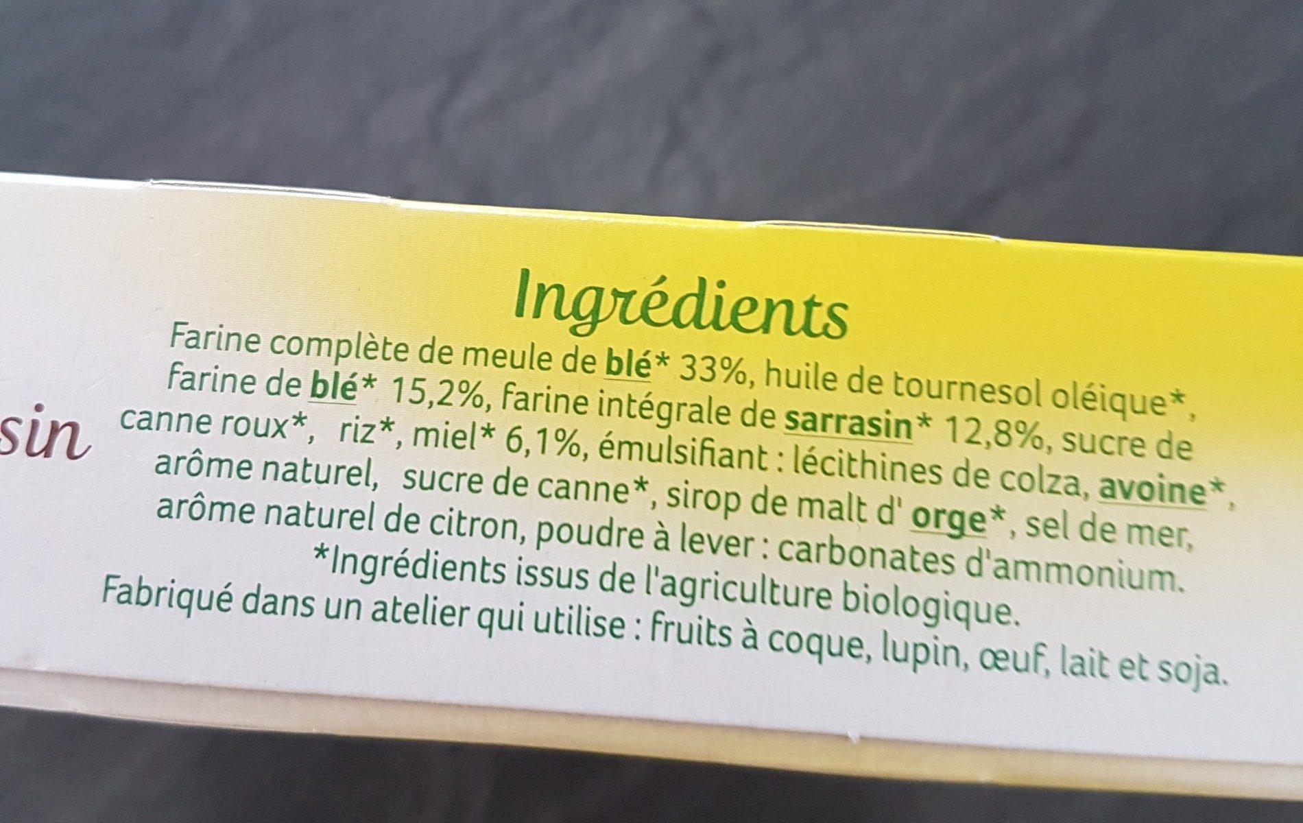 Sablés Miel, Saveur Citron & Sarrasin - Ingrédients - fr