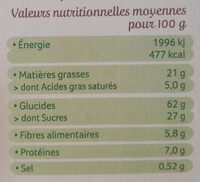Sablés bio chocolat noir intense - Nutrition facts