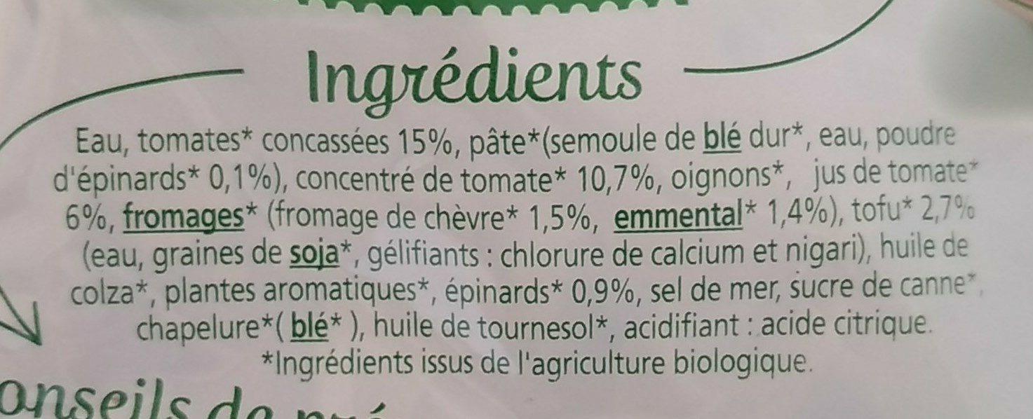 Cappelletti chèvre tofu épinards - Ingrediënten - fr
