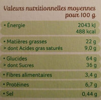 Cookies chocolat - Informations nutritionnelles - fr