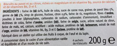 Biscuits Pavot Citron - Ingredients