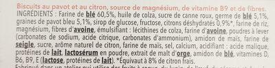 Biscuits Pavot Citron - Ingrédients - fr