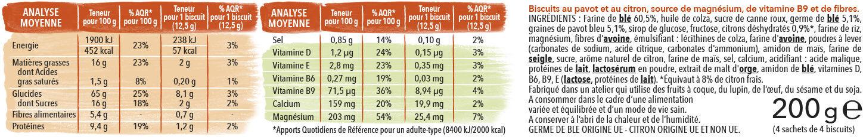 Biscuits Pavot Citron - Nutrition facts - fr