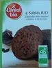 4 Sablés Bio Chocolat Noir Intense à la Farine de Blé de Meule - Produit
