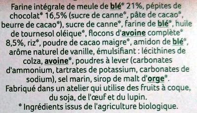 4 Sablés Bio Chocolat Noir Intense à la Farine de Blé de Meule - Ingrediënten - fr