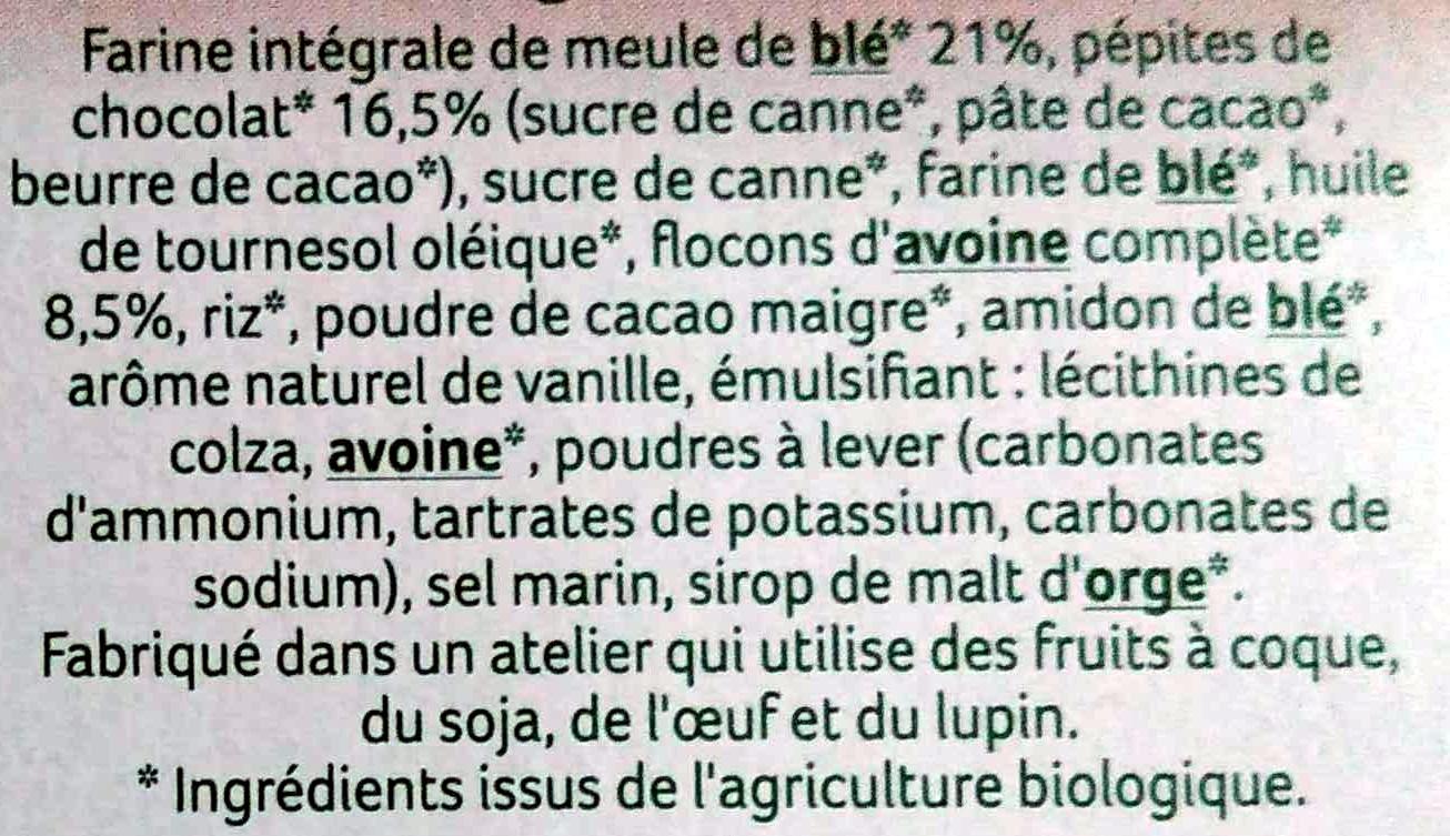 4 Sablés Bio Chocolat Noir Intense à la Farine de Blé de Meule - Ingrédients
