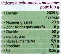 4 Sablés Bio Chocolat Noir Intense à la Farine de Blé de Meule - Informations nutritionnelles