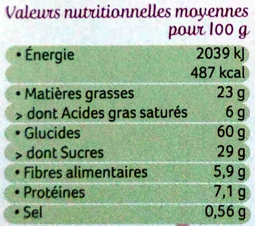 4 Sablés Bio Chocolat Noir Intense à la Farine de Blé de Meule - Voedingswaarden - fr