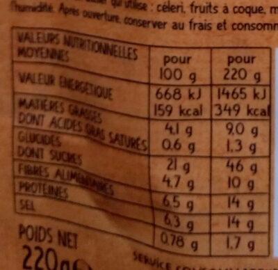 Boulghour de blé à la Tunisienne au Raz-El-Hanout - Valori nutrizionali - fr