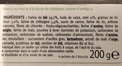 Biscuit Miel Châtaigne - Ingrédients