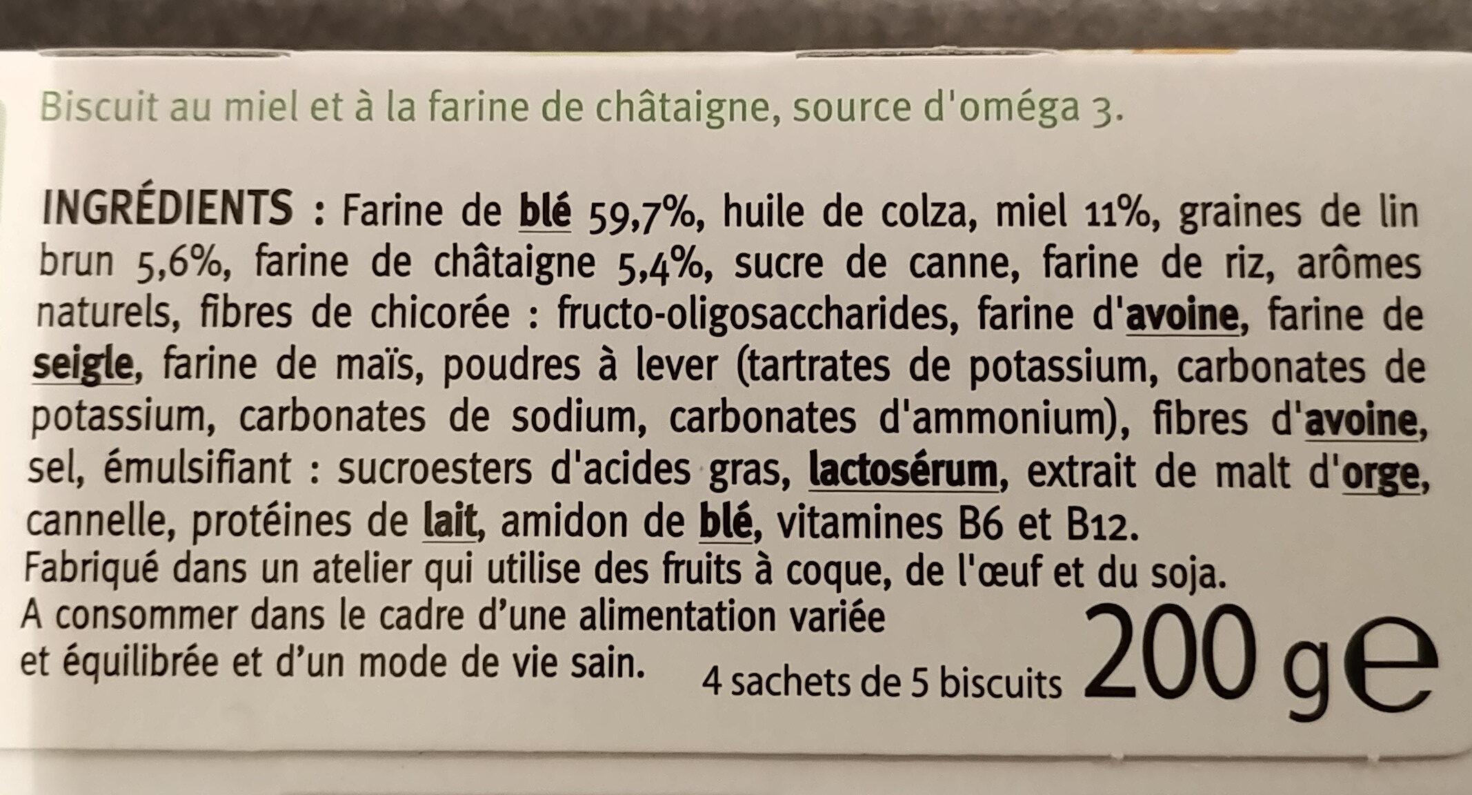 Biscuit Miel Châtaigne - Ingrédients - fr