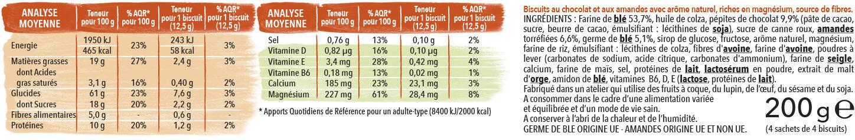 Biscuit chocolat amande - Ingrédients