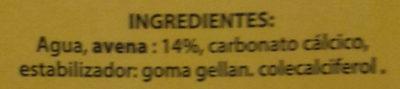 Bebida de avena Calcio - Ingredientes