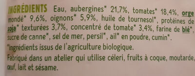 Cuisiné aubergines, orge et soja - Ingrediënten - fr