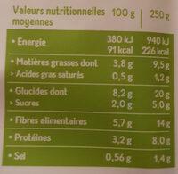 Cuisiné aubergines, orge et soja - Voedingswaarden - fr