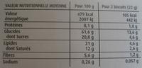 Sablés bio au beurre - Muesli & Épices - Valori nutrizionali - fr