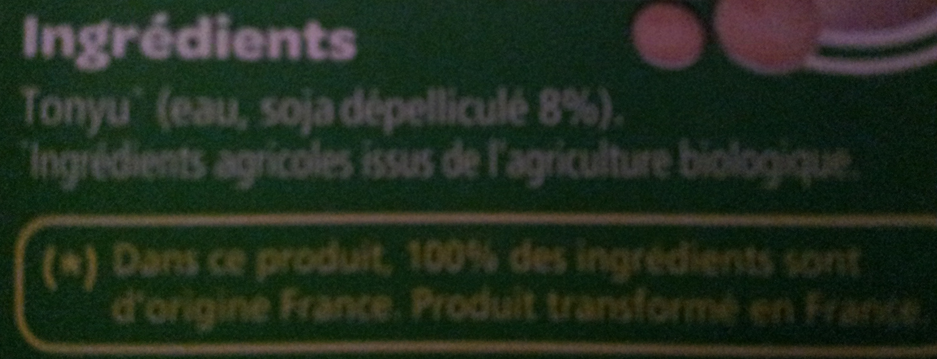 Boisson Soja Nature Bio  - Ingrédients