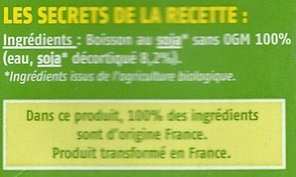 Boisson Soja du Sud-Ouest  Nature  - Ingrédients