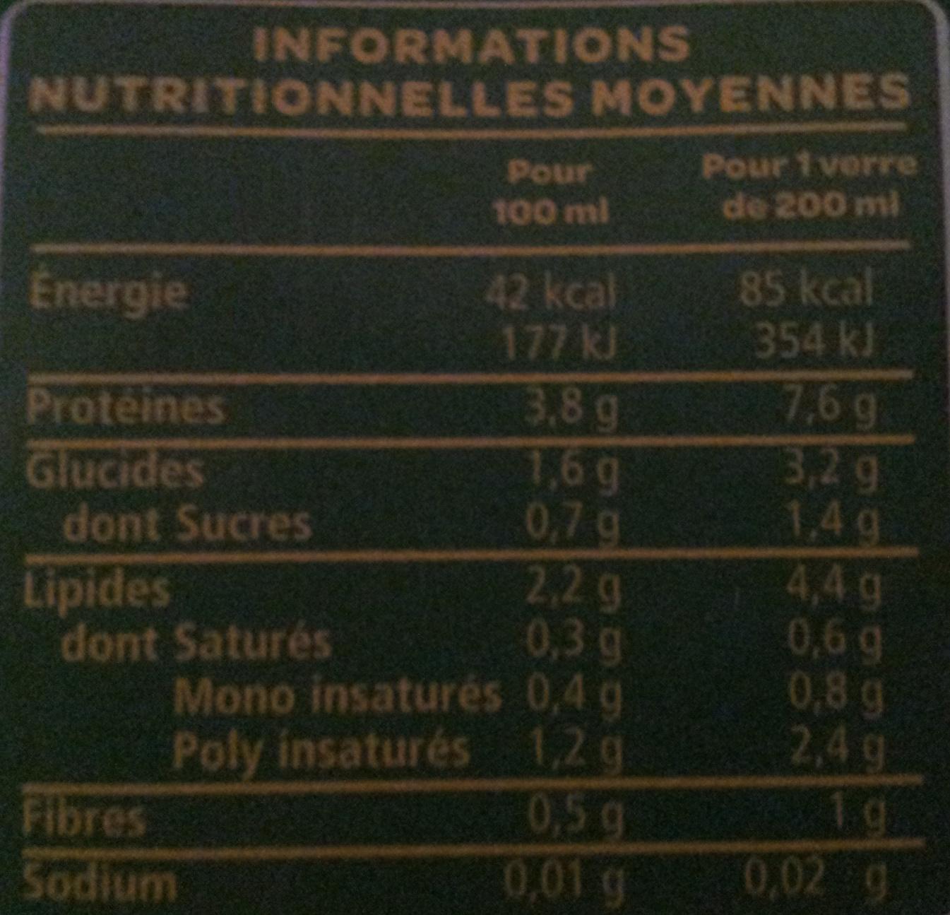 Boisson Soja Nature Bio  - Informations nutritionnelles